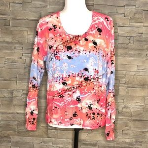 Importations Cotton coral pink and blue sweater
